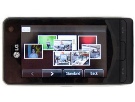 LG KU990 Viewty mobile phone showing photos
