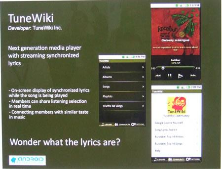 TuneWiki Google Android mobile phone software
