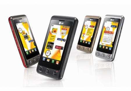 LG KP500 mobile phone in different colours