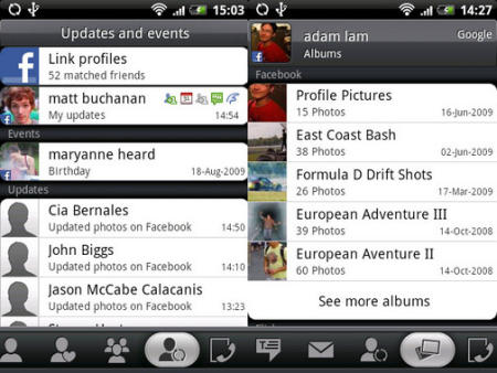 HTC Hero showing Facebook integration