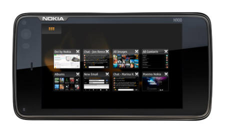 Nokia N900 smartphone showing user interface