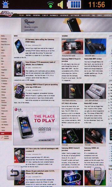 Samsung Pixon 12 showing mobile Web browser
