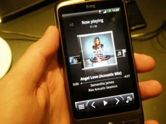 HTC Desire showing music player