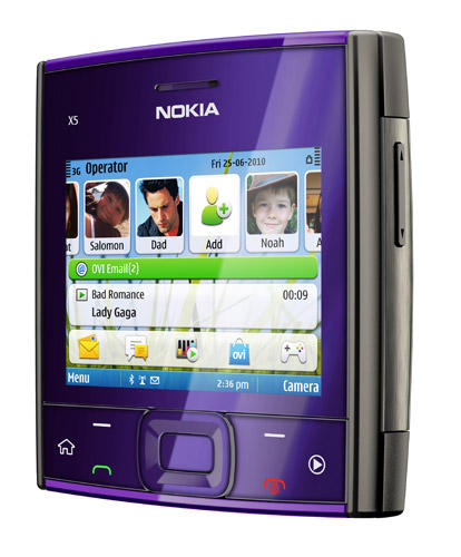 Nokia X5-01 phone in purple