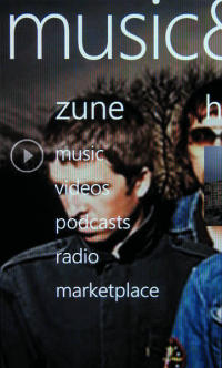 Omnia 7 phone showing Zune music app