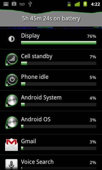 Android Gingerbread battery life