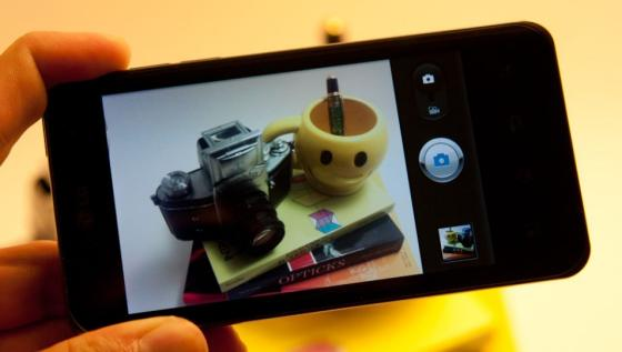 LG optimus 2X showing its camera interface