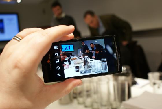 Sony Ericsson Xperia Arc showing camera