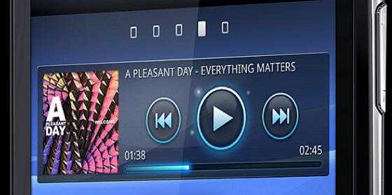 Sony Ericsson Xperia Arc showing music player