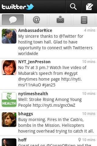 Twitter app for Android user interface