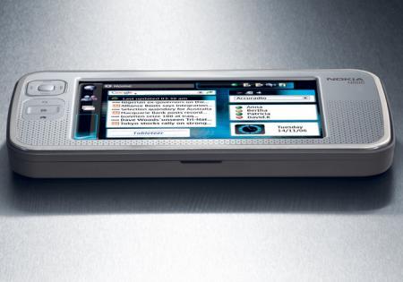 Nokia N80 Internet tablet on its side