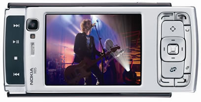 Nokia N95 mobile phone showing video