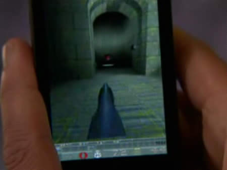 Google Android mobile phone playing Quake