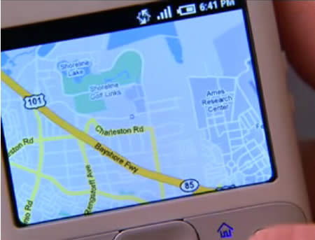 Google Android showing Google Maps