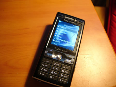Sony Ericsson K800i showing user interface