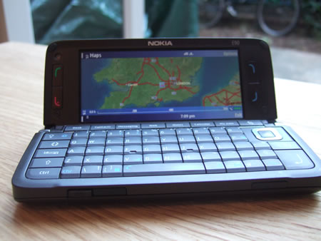 Nokiae E90 showing Nokia Maps application