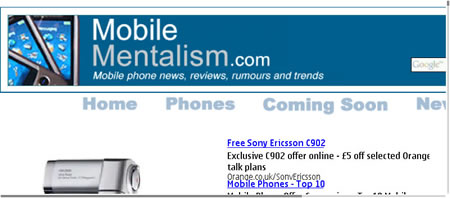 Nokia E90 Web browsing - full screen