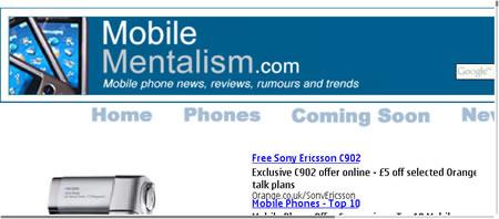 Nokia E90 Web browsing - full screen