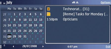 Nokia E90 Communicator showing calendar