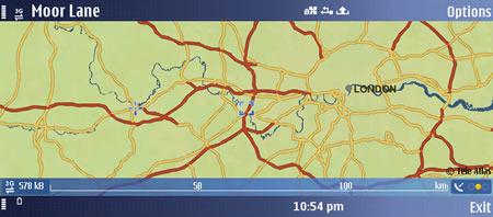 Nokia E90 showing Nokia Maps application