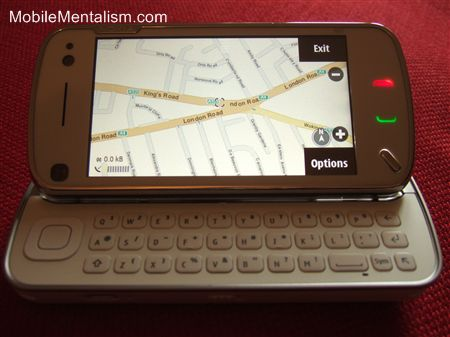 Nokia N97 smartphone showing GPS and Nokia Maps