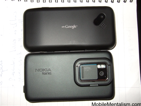 Nokia N900 and T-Mobile G1 from the back