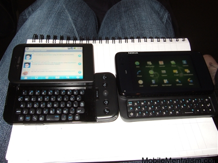 Nokia N900 and T-Mobile G1 Android phone side by side comparison