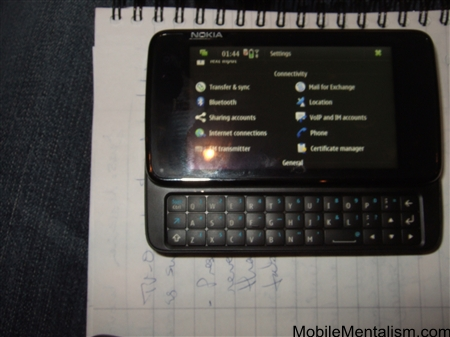 Nokia N900 showing user interface