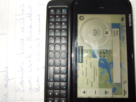 Nokia N900 showing Ovi Maps