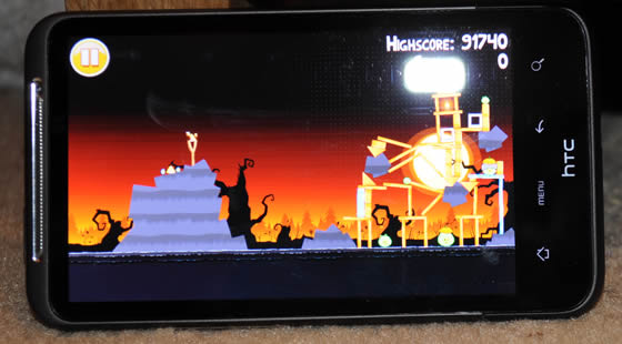 Angry Birds on the HTC Desire HD