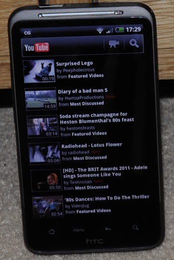 HTC Desire HD showing YouTube app
