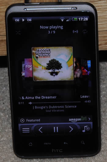 HTC Desire HD music player app