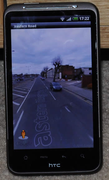 HTC Desire HD showing Google Street View